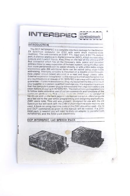 DCP INTERSPEC instruction manual